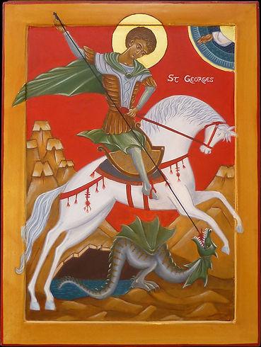 icône de l'atelier de la Theotokos I Saint Georges et le dragon | Passant dans la région d'attalia, St Georges délivre une princesse en terrassant un terrible dragon par la force que lui procure sa foi.