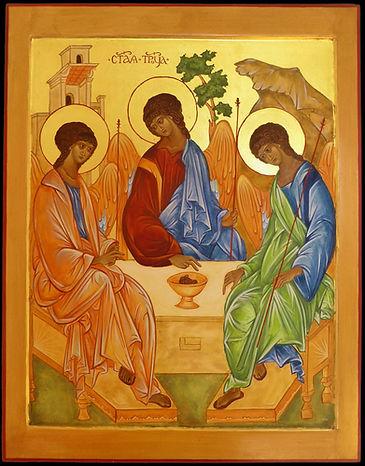 icône de la Trinité | atelier de la theotokos |  Le Saint iconographe russe Andreï Roublev s'inspira de la scène de l'hospitalité d'Abraham pour peindre l'icône de la Sainte Trinité.