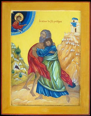 le retour du fils prodigue | icône de l'atelier de la Theotokos | Réjouissons-snous parce que mon fils quie voici était mort et il est revenu à la Vie