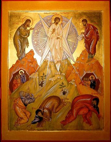 atelier de la theotokos | icône de la fête de la transfiguration | devant ses disciples apeurés, le Christ se transfigure, devient pure lumière afin qu'ils croient qu'il est la splendeur du Père