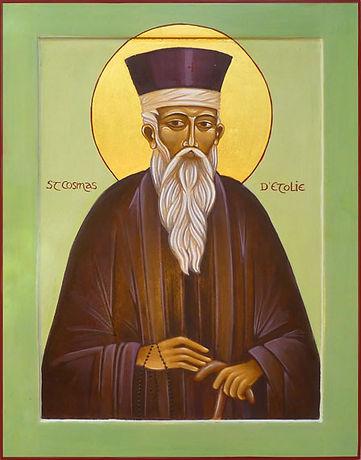 Icone de Saint cosmas d'Etolie | atelier de la Théotokos | tempéra et feuille d'or sur levka 30 x 24 cm