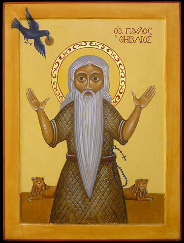 atelier de la Theotokos | icône de Saint Paul l'ermite |  Saint Paul de Thèbes né en Haute-Egypte, vécu au 4e siècle et fût, selon Saint Jérôme, le premier ermite.