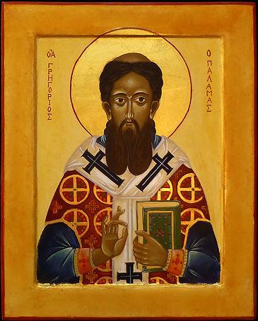 atelier de la Theotokos | icône de Saint Grégoire de Palamas | St Grégoire développe sa pensée autour d'une question fondamentale celle du salut et de la déification de l'homme...