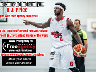 PG R.J. Price (Radford/Switzerland) Signs with Free Agency Basketball