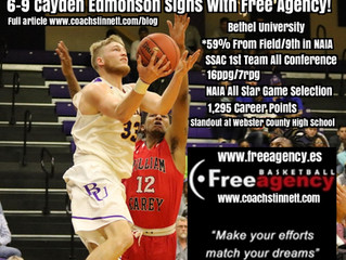 Cayden Edmonson Signs with Free Agency Basketball