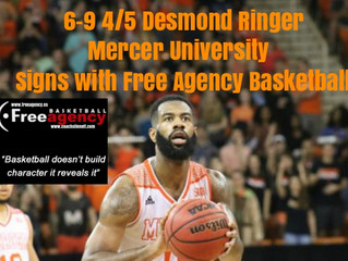 6-9 4/5 Desmond Ringer from Mercer University Signs with Free Agency Basketball