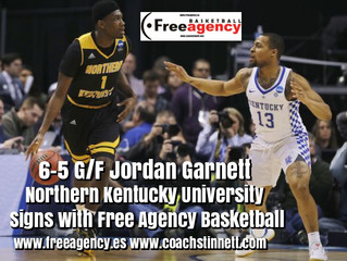 Jordan Garnett from NCAA Division 1 Northern Kentucky Signs with Free Agency Basketball