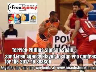 Terrick Phillips Signs in Spain - 33rd Free Agency Player to Sign for 2017-18