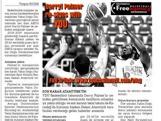 Darryl Palmer Re-Signs with YDU in North Cyprus