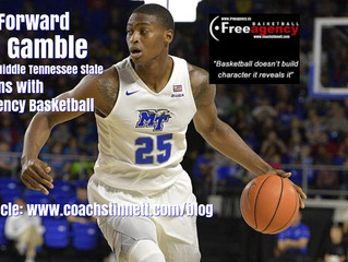 6-9 Forward Karl Gamble from Middle Tennessee State Signs with Free Agency Basketball