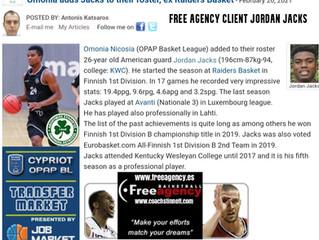 Jordan Jacks Signs with Omonia in Top League Cyprus