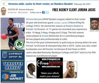 Jordan Jacks Signs with Omonia in Top League Cyprus