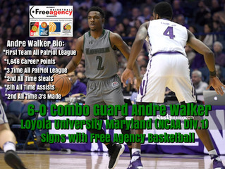 First Team All Patriot League Performer Andre Walker (6-0 Combo) Signs With Free Agency Basketball