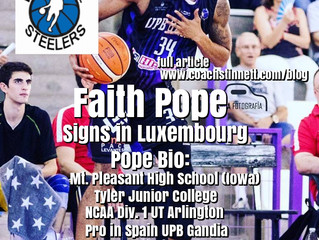 Faith Pope Signs with Kordall Steelers in Luxembourg