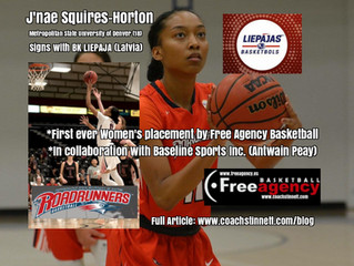 J'nae Squires-Horton Signs in Latvia (First ever women's placement by Free Agency/SBS)