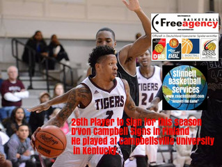 26th Free Agency Player D'Von Campbell (Campellsville/Italy) Signs in Finland