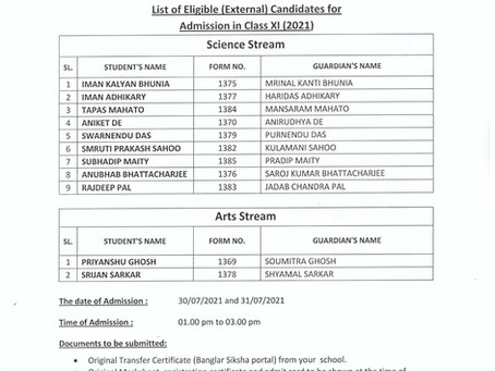 LIST OF ELIGIBLE (EXTERNAL) CANDIDATES FOR ADMISSION IN CLASS-XI (2021)