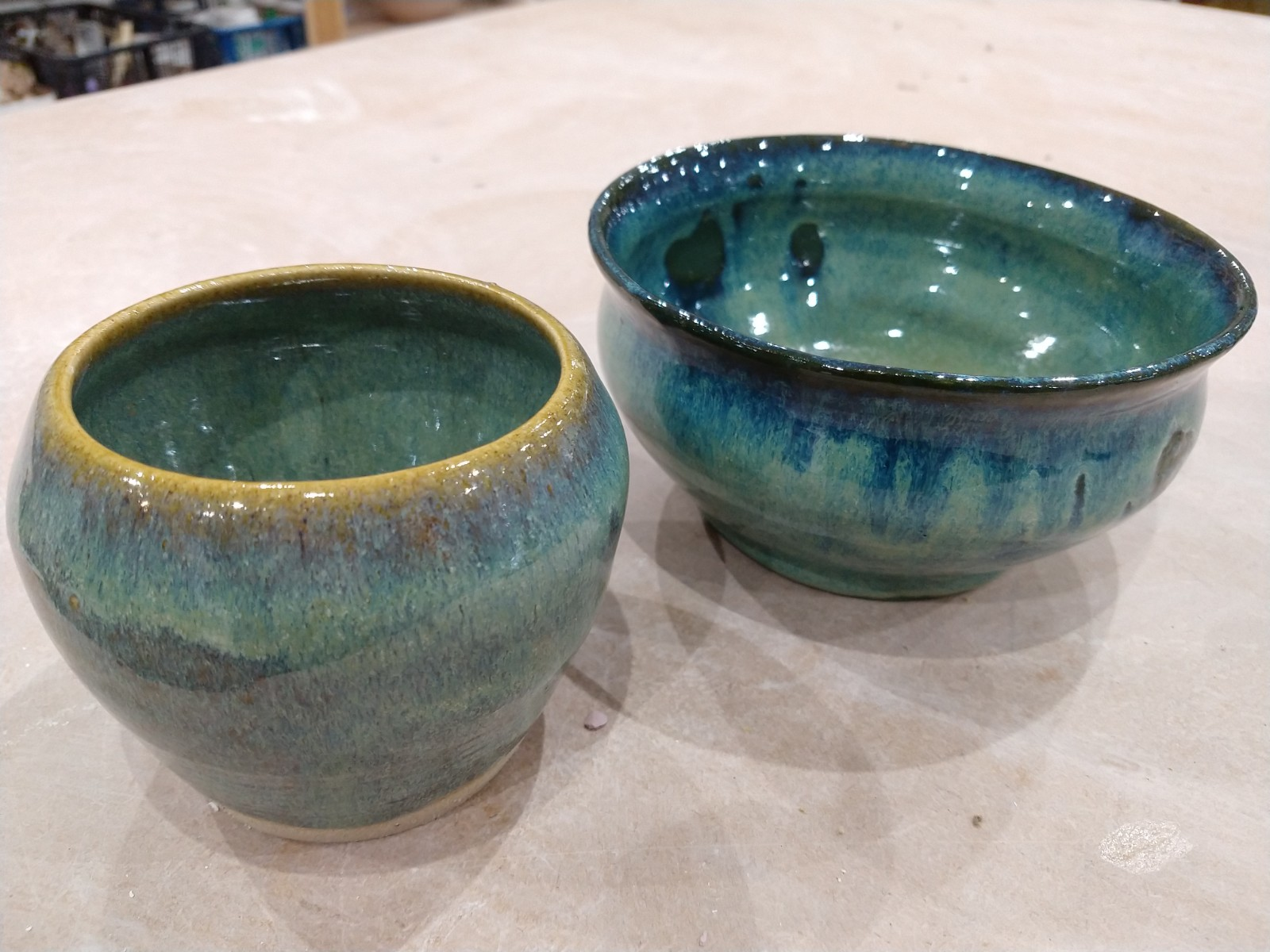 Two Sea Foam glazed bowls