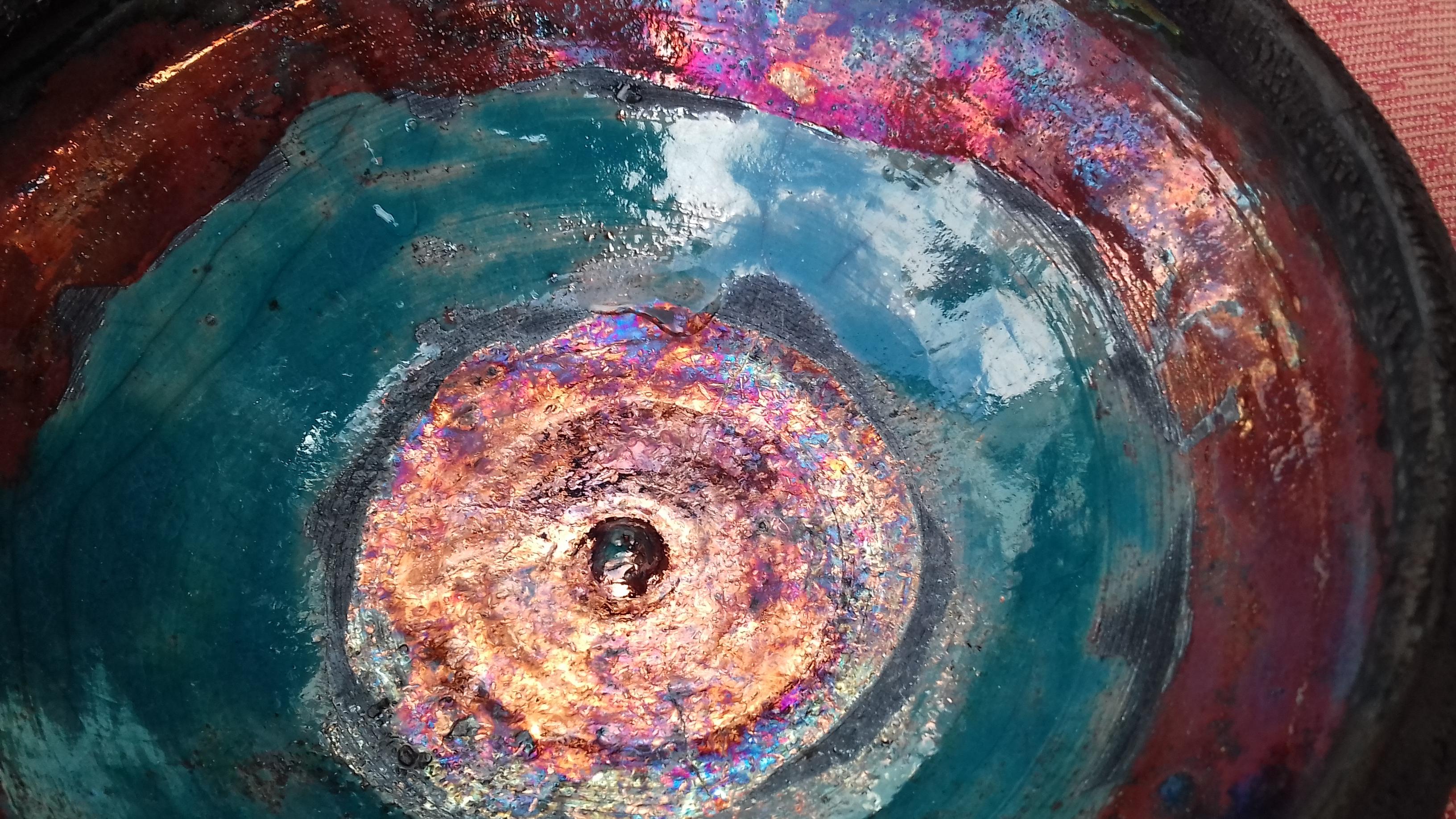 Raku-detail in a bowl