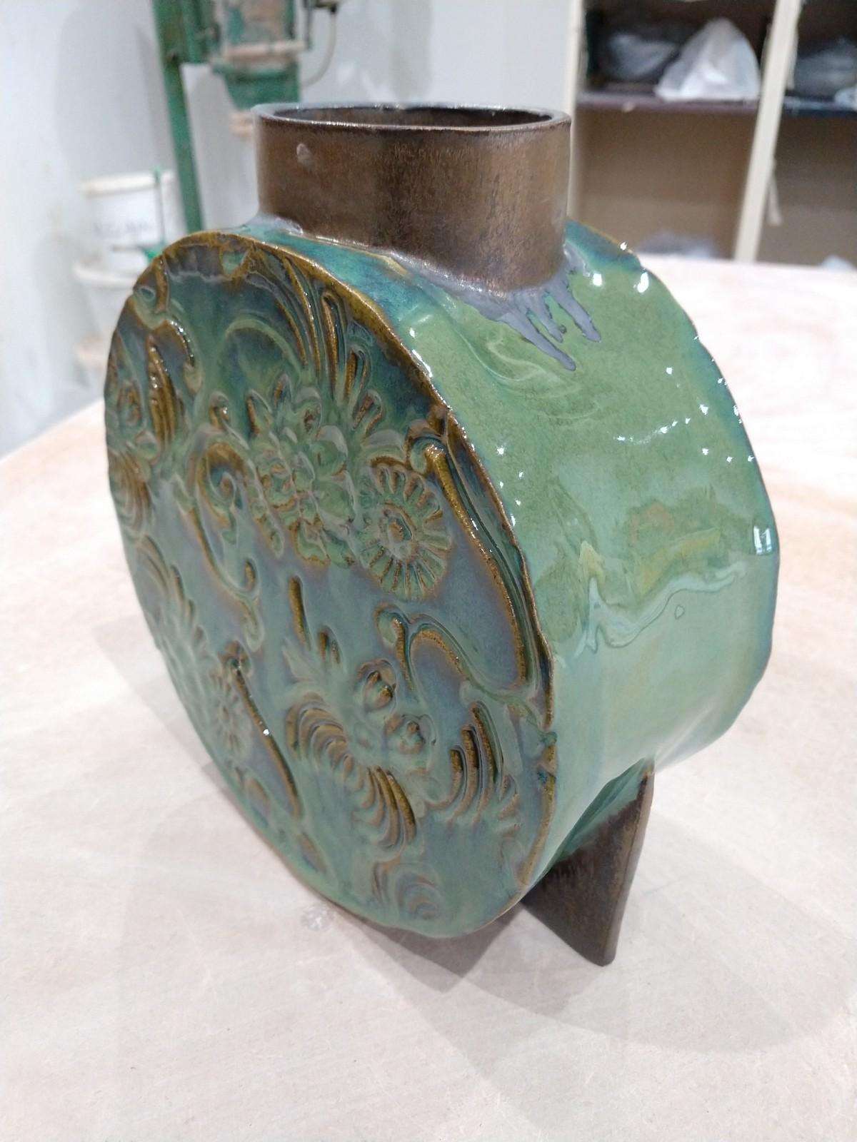 Marble green vase