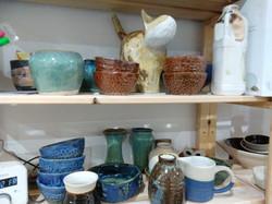 View along the shelves