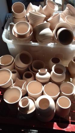 Pile of pots for Raku