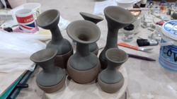 Stem vases pre firing