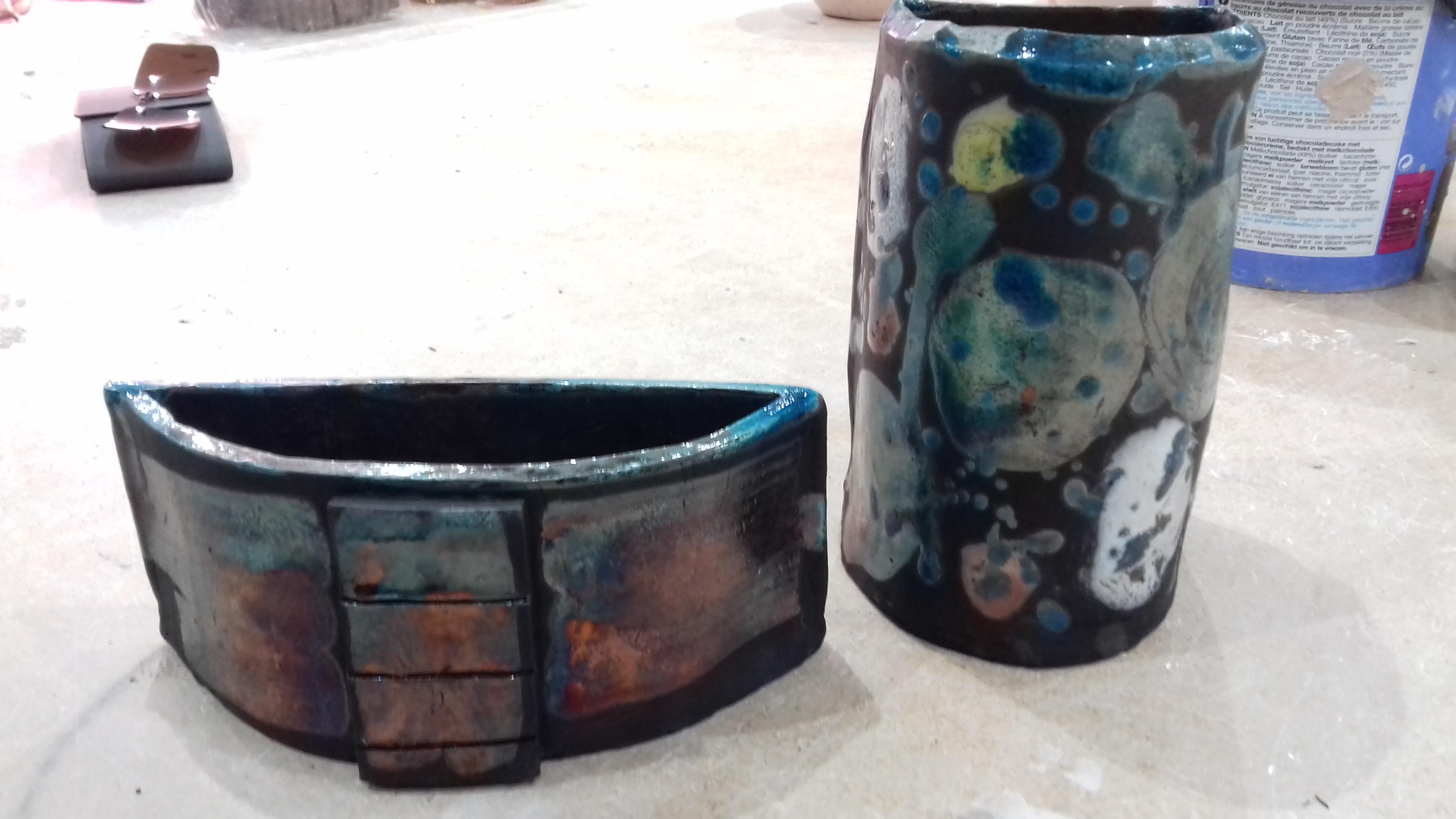 Raku hand built pots