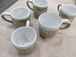 Mugs with resist lettering