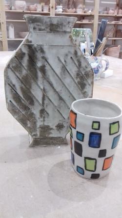 Sculptural slab built vase