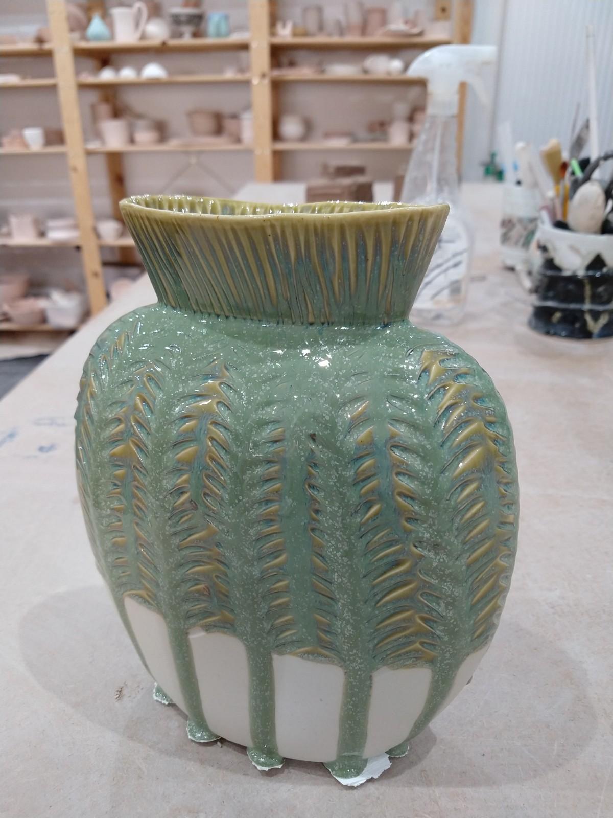 Seafoam on slip cast vase