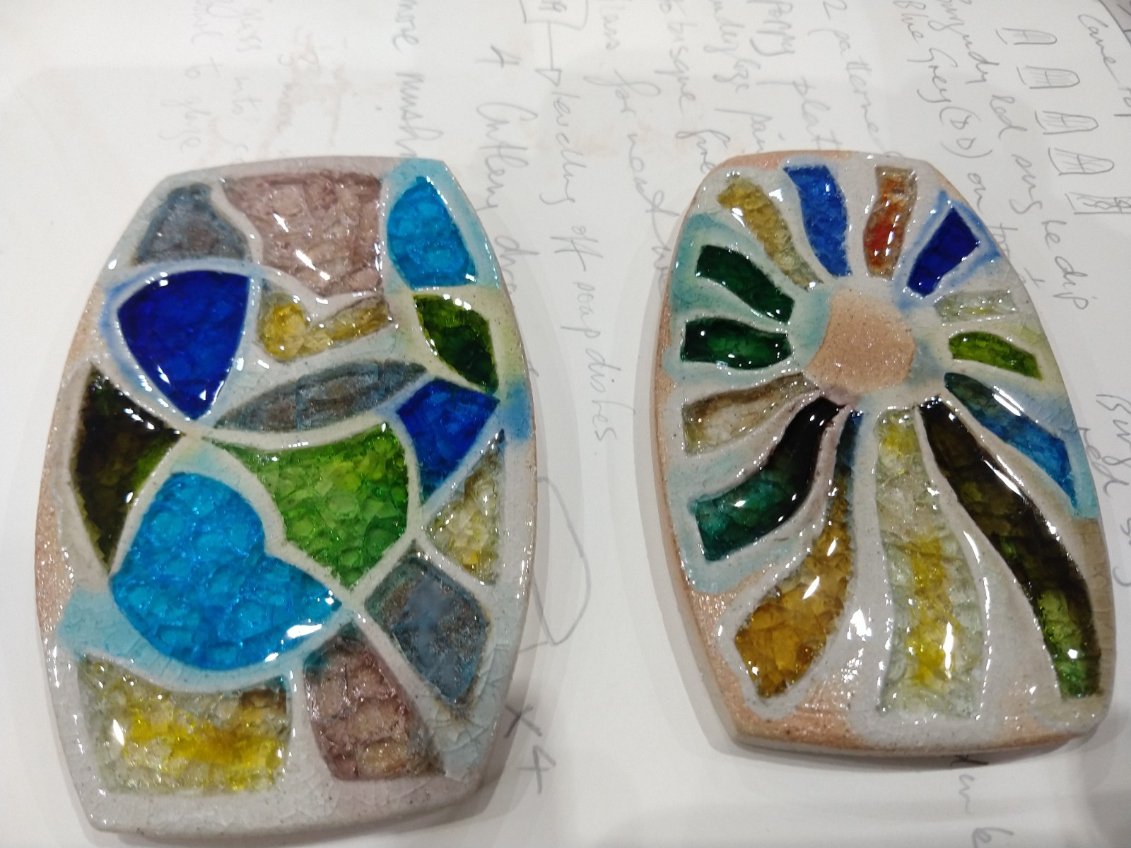 Carved and glass filled