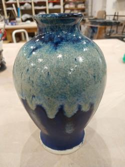 White slip cast vase