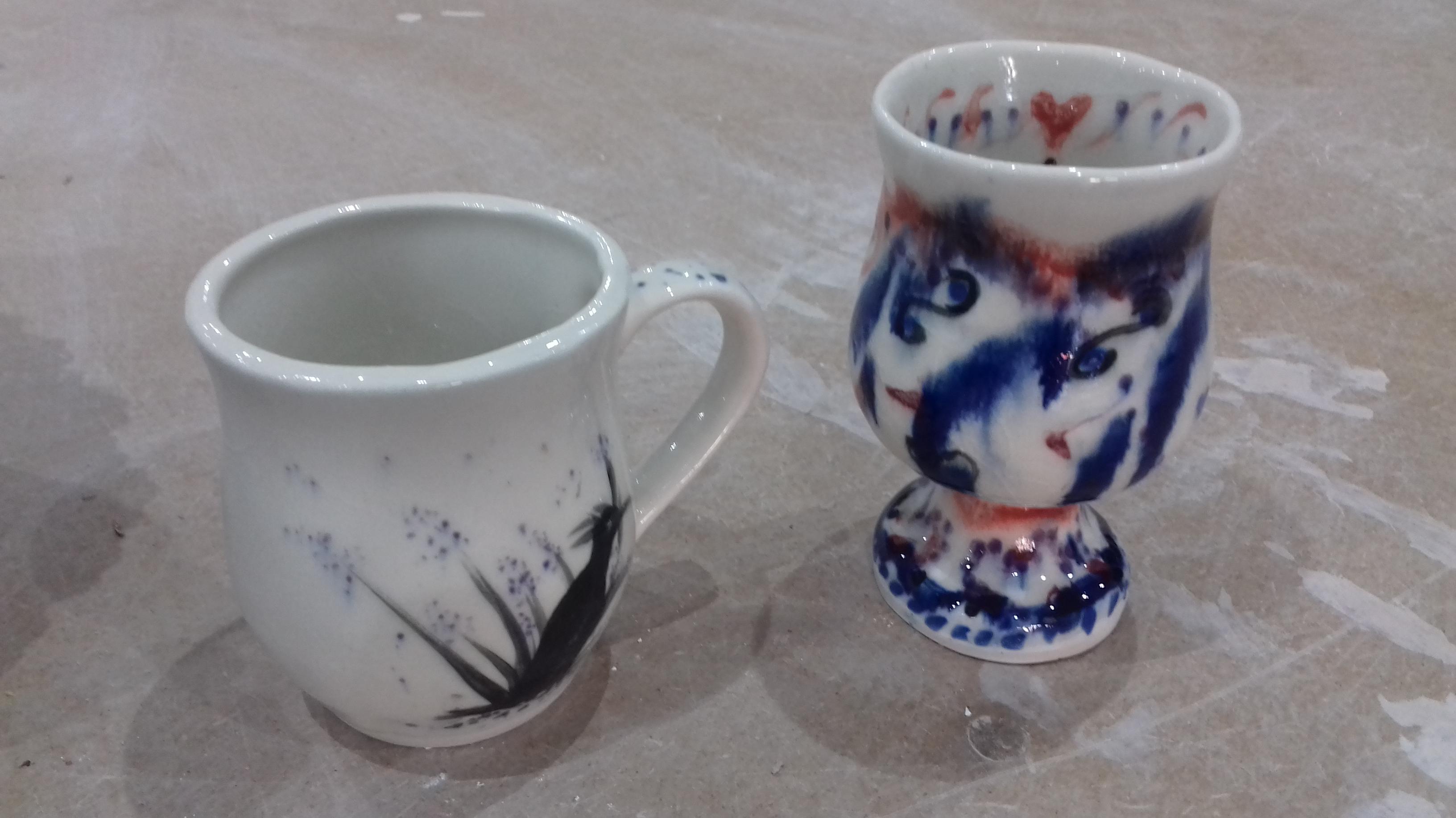 Under glaze colours on slip cast