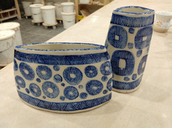 Slab built vases