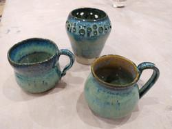 Large slip and glaze mugs