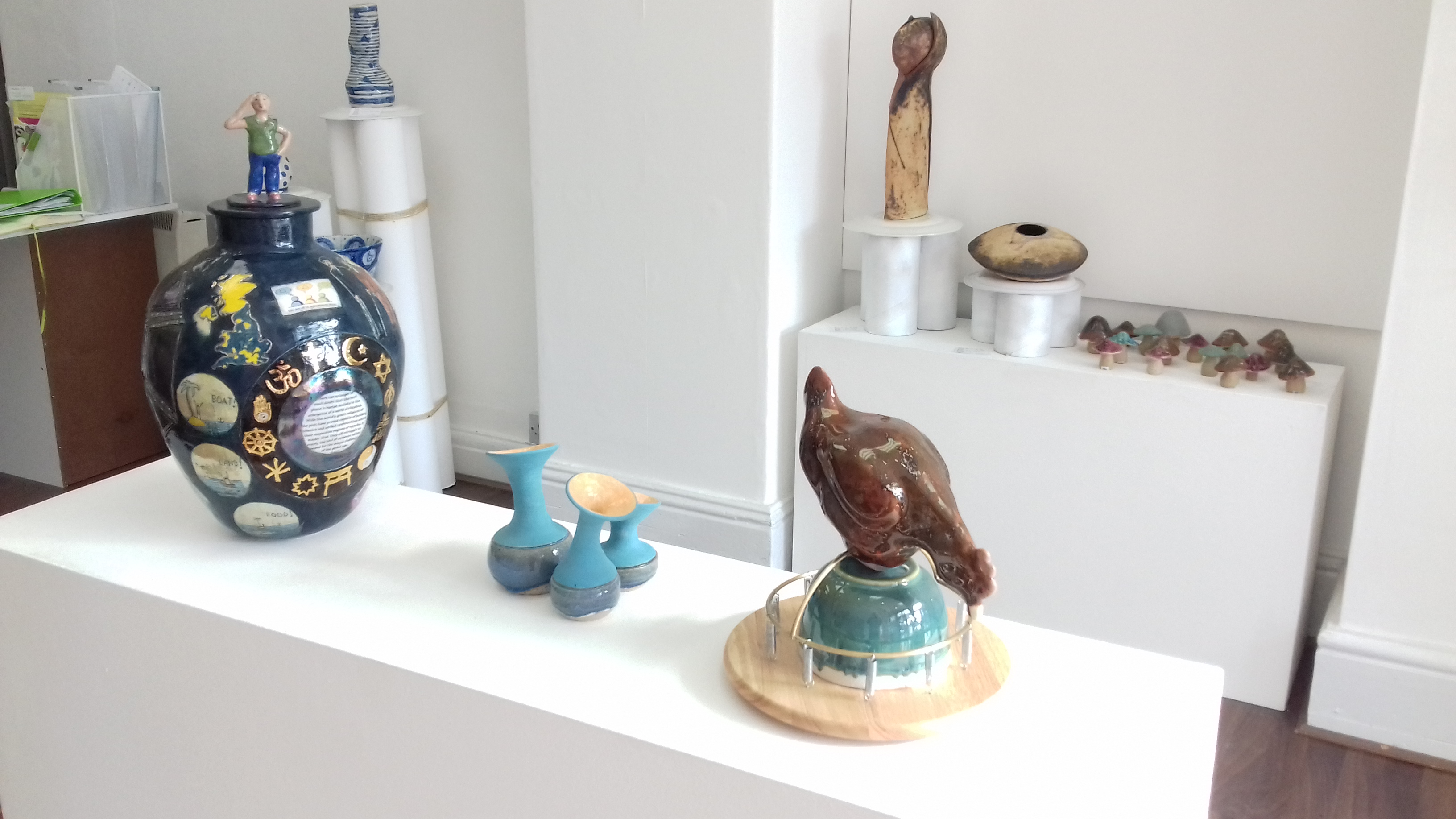 In an exhibition - Mary Morgan big pot and Simon Wolf small blue and Spring Chicken