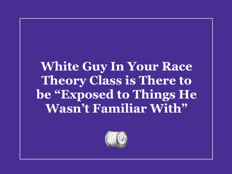 """White Guy In Your Race Theory Class is There to be """"Exposed to Things He Wasn't Familiar With"""""""