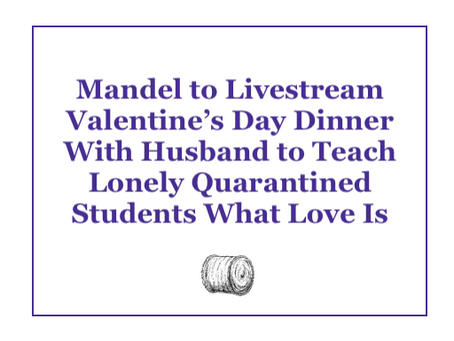 Mandel to Livestream Dinner With Husband to Teach Lonely Quarantined Students What Love Is