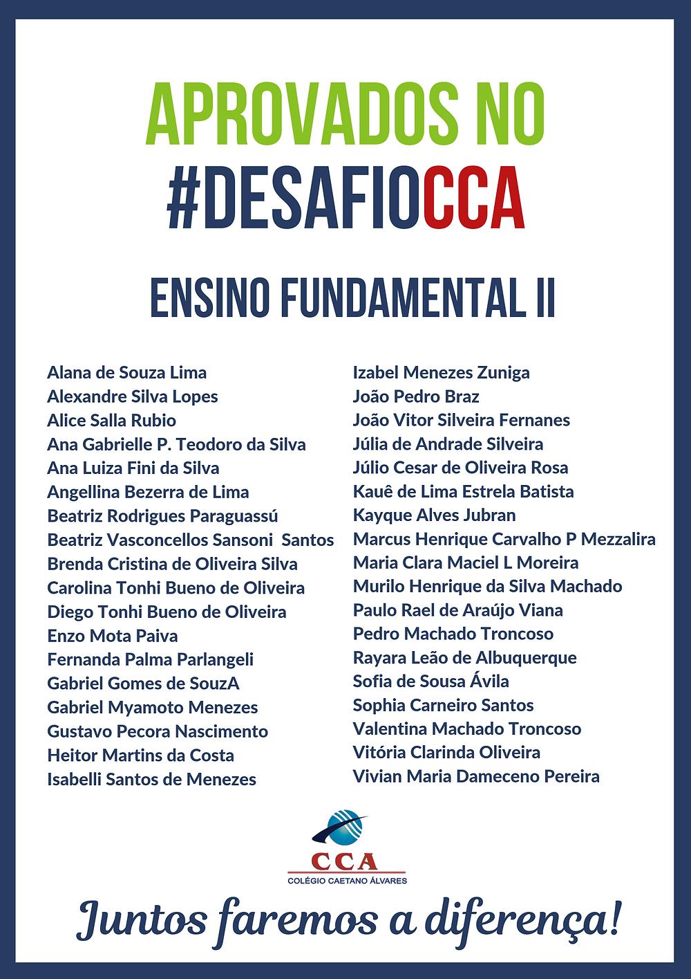 Aprovados #DesafioCCA Ensino Fundamental