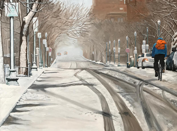 Snowy Bike Lane 24x20