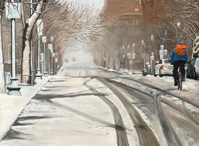 Snowy Bike Lane 24x20