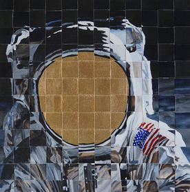 Weave Man on the Moon 36x36