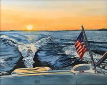 painting lake winnipesaukee boat sunset.