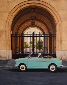 Paris Woman in Car 48x24