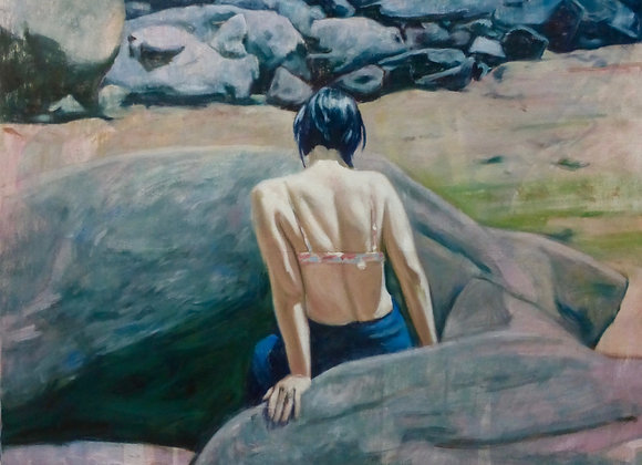 Femme sur la plage Perros-Guirec