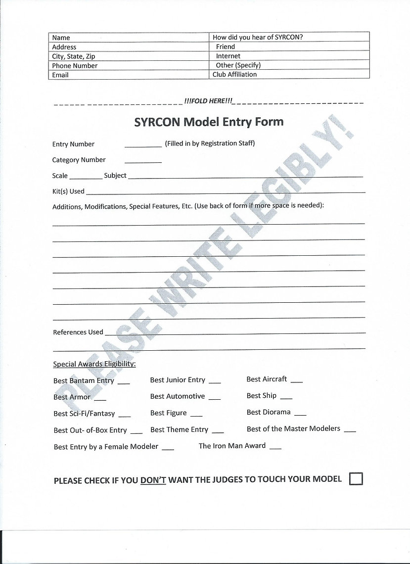 SYRCON Entry Form
