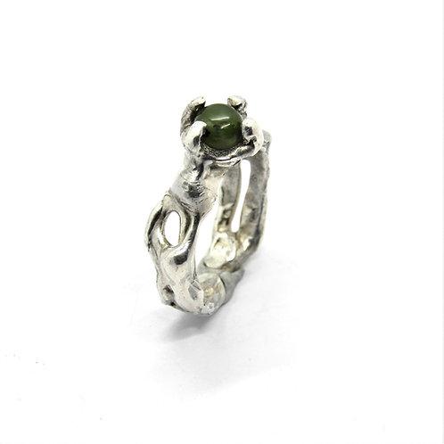FLYING STONES - anello argento, giada.