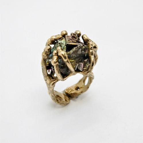 FLYING STONES - anello bronzo oro, cristalli di bismuto