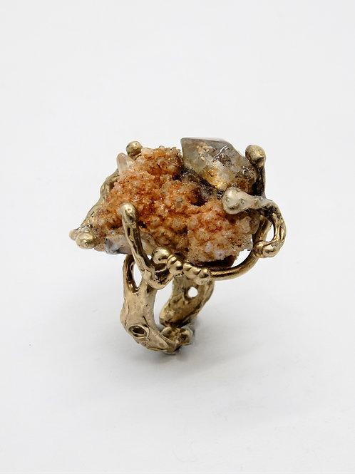FLYING STONES - gold bronze ring, druze quartz